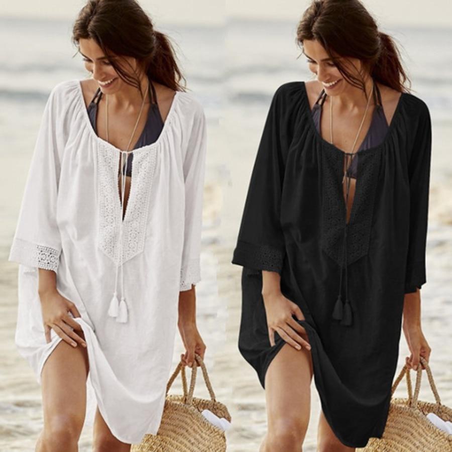 9 estilos de traje de baño Sexy para mujer para cubrir los pareos de vendaje de verano de playa mujer Push Up Vestido de playa traje de baño azul túnica de playa