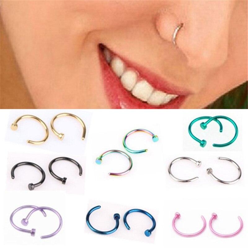 Ahmed de titanio médico nariz anillo de labio de Labret de plata CUERPO DORADO aro de Clip para las mujeres Septum Piercing Neus Pircing joyería regalos