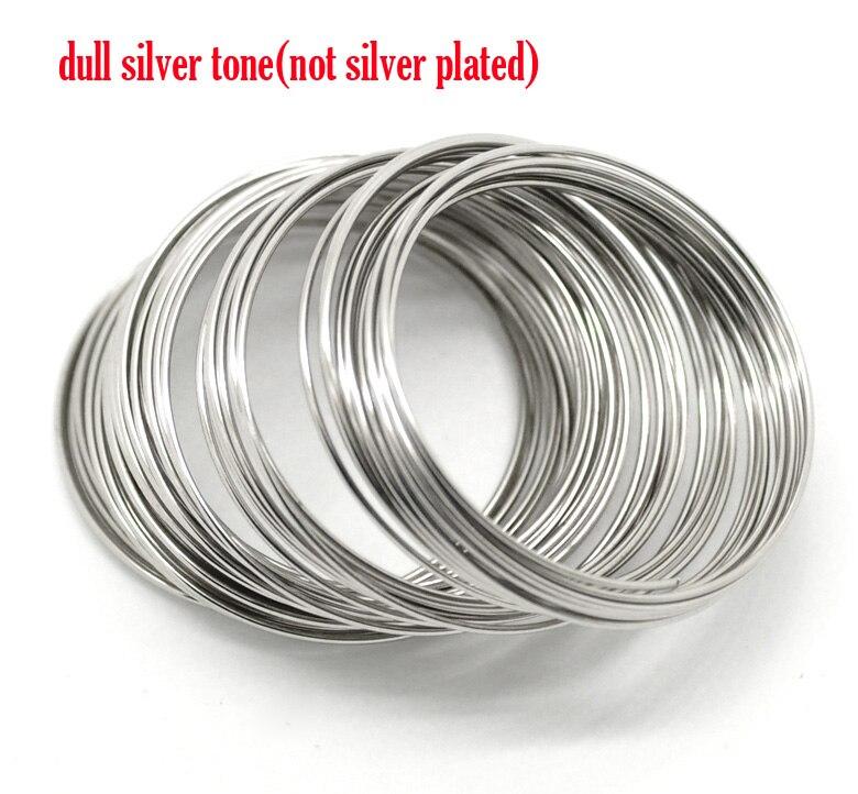 DoreenBeads memoria de alambre de acero componentes para pulseras rebordear Color plata redondo 4 cm-4,5 cm Dia, 40 bucles nuevo