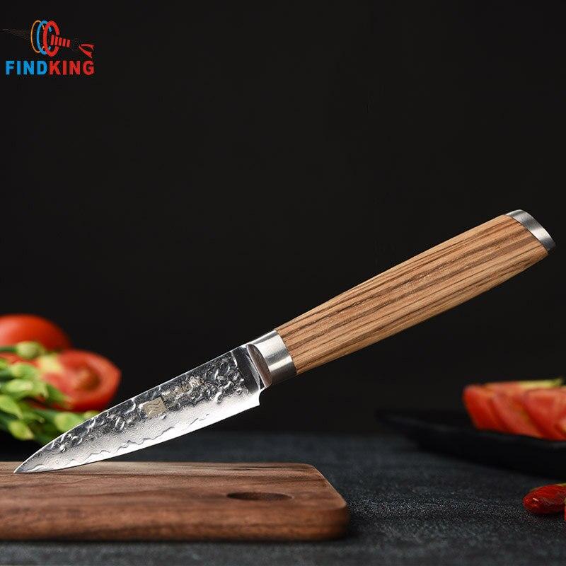 FINDKING 3,5 pulgadas cuchillo de cocina pelado de frutas cuchillos Damasco Acero inoxidable japonés cuchillos de pelar calidad