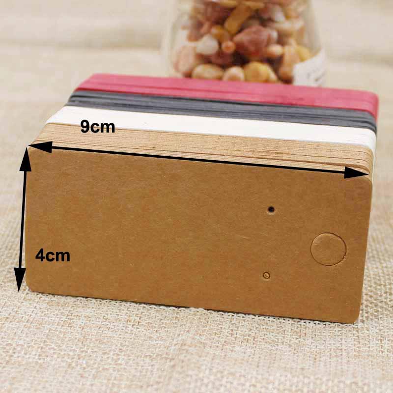 4*9cm kraft/Negro/Rosa caliente/blanco papel en blanco joyería pendiente pantalla tarjeta con logotipo personalizado costo extra 200 Uds por lote