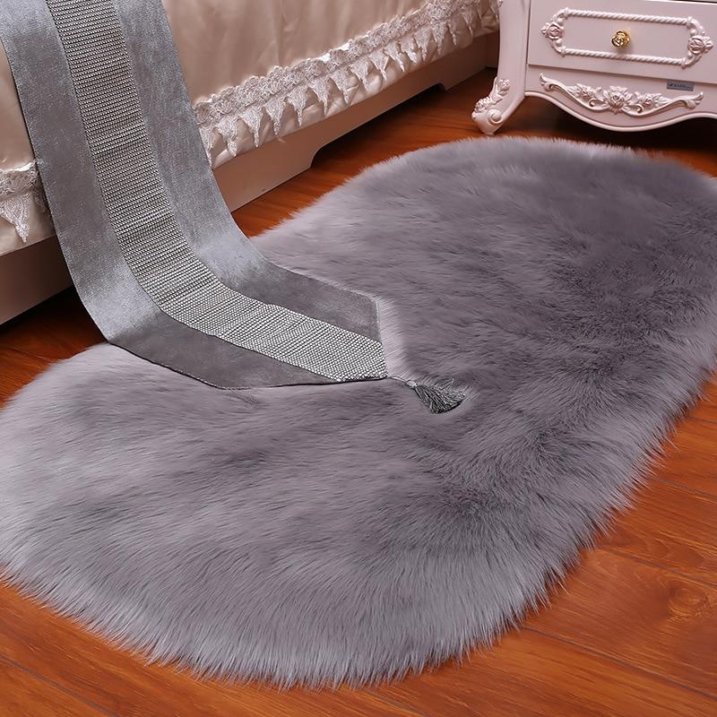 Белый серый плюшевый искусственный мех Пушистый шерстяной Овальный ковер для гостиной спальни прикроватные коврики магазин украшения на о...
