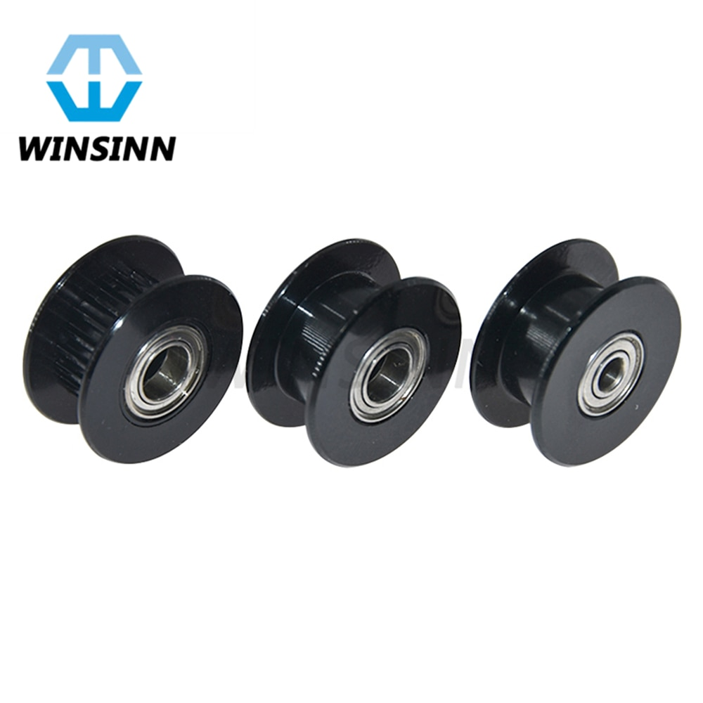 Black GT2 Idler Pulley 20 Teeth Toothless 3mm 4mm 5mm Bore 6mm Width Timing Belt Pulley Wheel Aluminum for 3D Printer