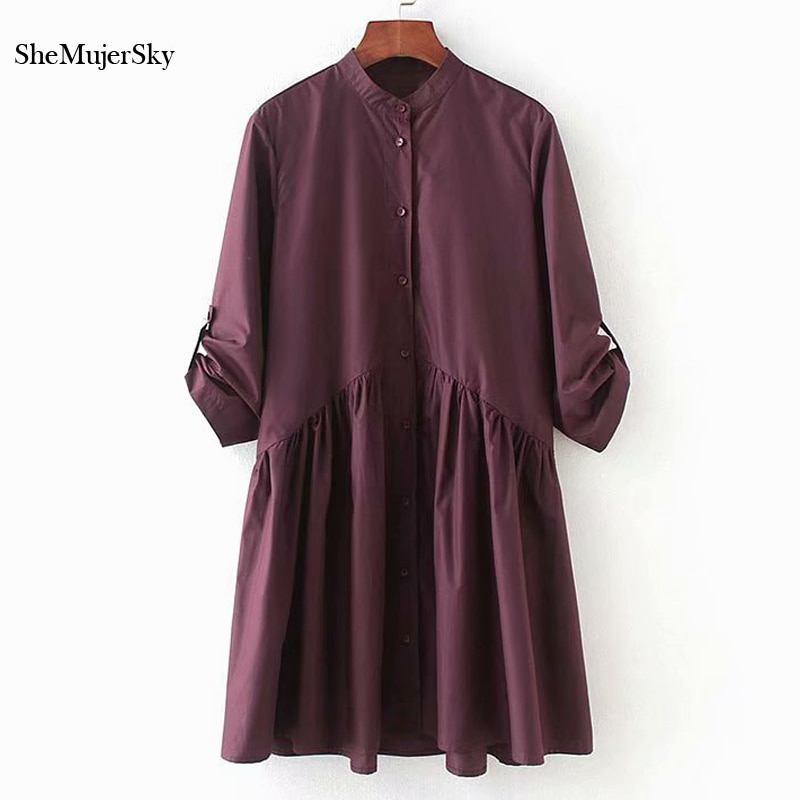 SheMujerSky Women Purple Shirt Dress Spliced Short Dress Half Sleeve zomerjurken 2018 dames