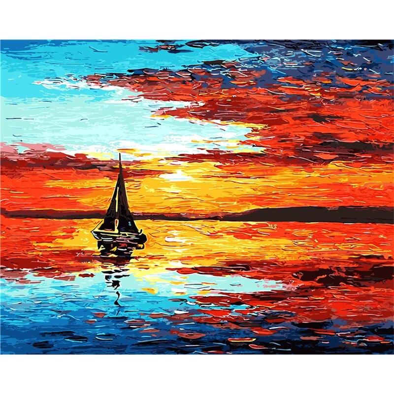 Бескаркасный Настенный декор, картина по номерам, ручная живопись на холсте, красный морской пейзаж, живопись, современная живопись