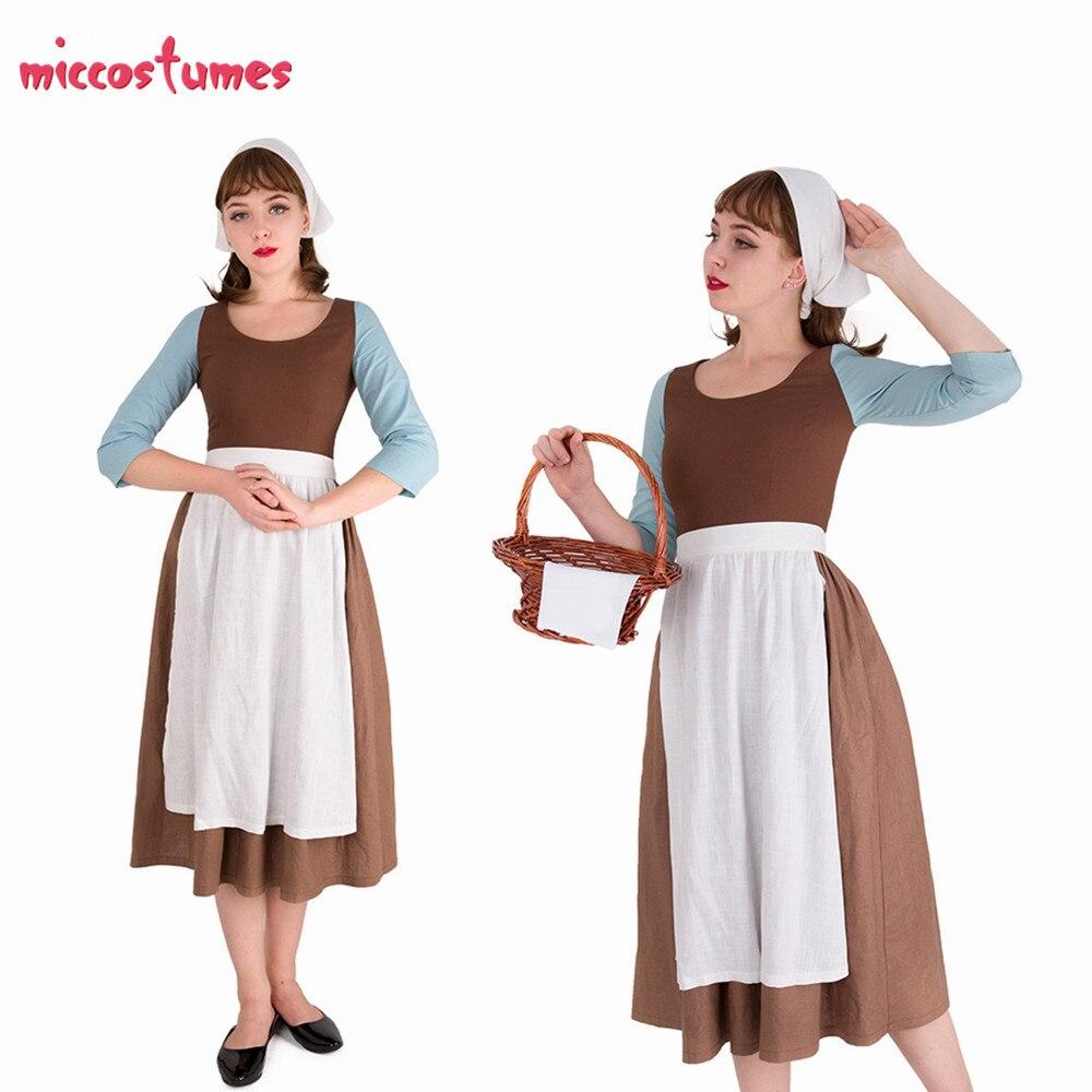 Cinderela empregada doméstica traje marrom vestido com lenço