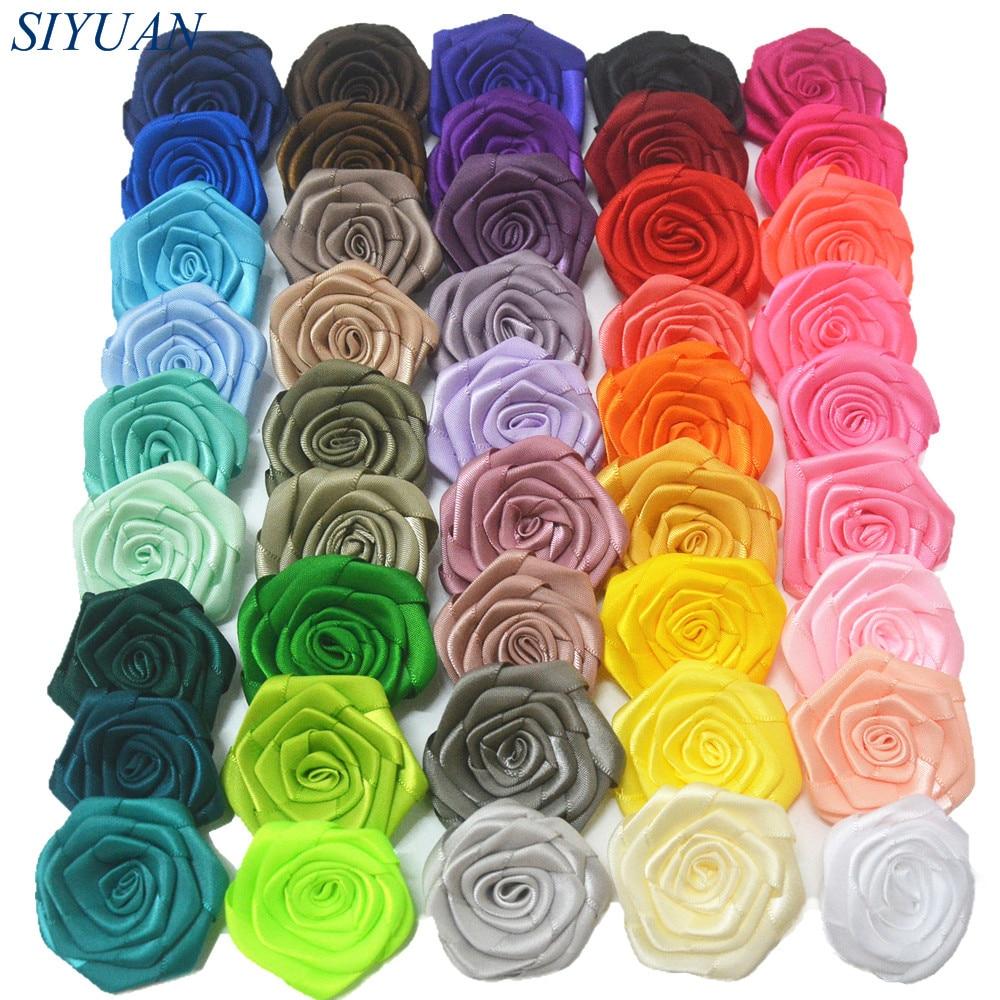 Оптовая Продажа 1000 шт./лот 4 5 см атласные розетки Цветочный бутик сделай сам для