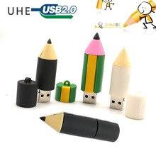 Cartoon bleistift usb-stick pen drive 4GB 8GB 16GB 32GB 64GB memory stick nette augenbraue stift reale kapazität pendrive geschenke cle
