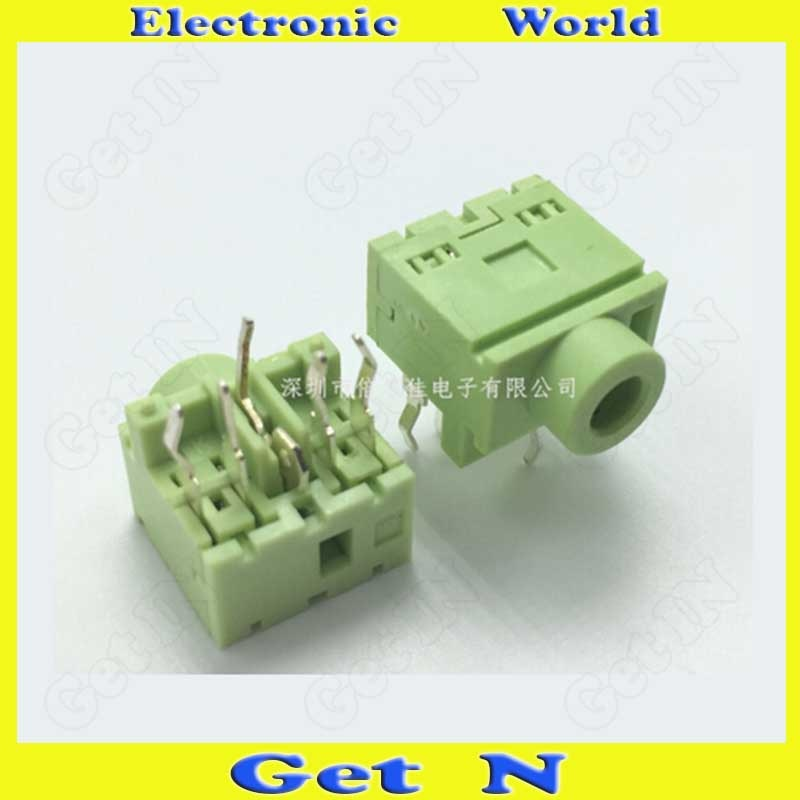 500 Uds PJ-317-5P verde AV de 3,5 MM hembra 3,5 conectores de vídeo de Audio de enchufe hembra
