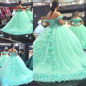 Mint Gren Quinceanera Dresses Ball Gown Tulle Prom Debutante Sixteen Sweet 16 Dress vestidos de 15 anos