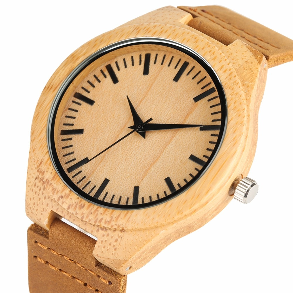 Bamboo Wooden Watches Genuine Leather Band Creative Men Wrist Watch Luxury Fashion Stripe Dial Wood Clock Gifts for Male black ink world map dial watch natural bamboo wood watch fashion casual leather men quartz analog round wristwatches clock male