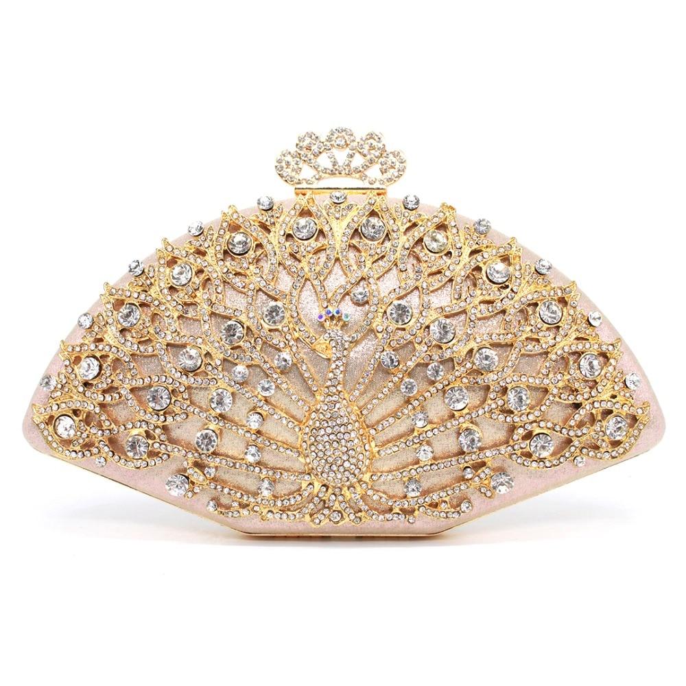 Luxury Designer Women Evening Bag Fashion Golden Metal Crystal Women Evening Bag Clutch Handbag Ladies Wedding Bridal Party Bag