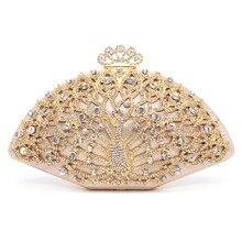 Luxe Designer Vrouwen Avondtasje Fashion Golden Metal Crystal Vrouwen Avondtasje Clutch Handtas Dames Wedding Bridal Party Bag