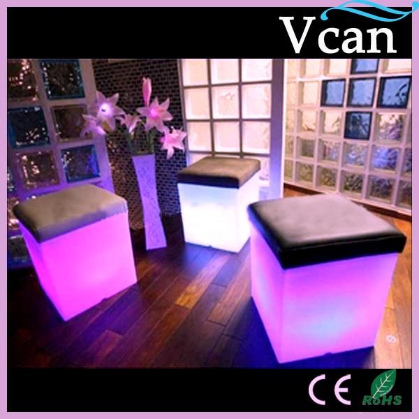Luz LED brillante RGB colores cambiar taburete de Bar con cojín VC-A3838 a exterior interior de jardín como asiento