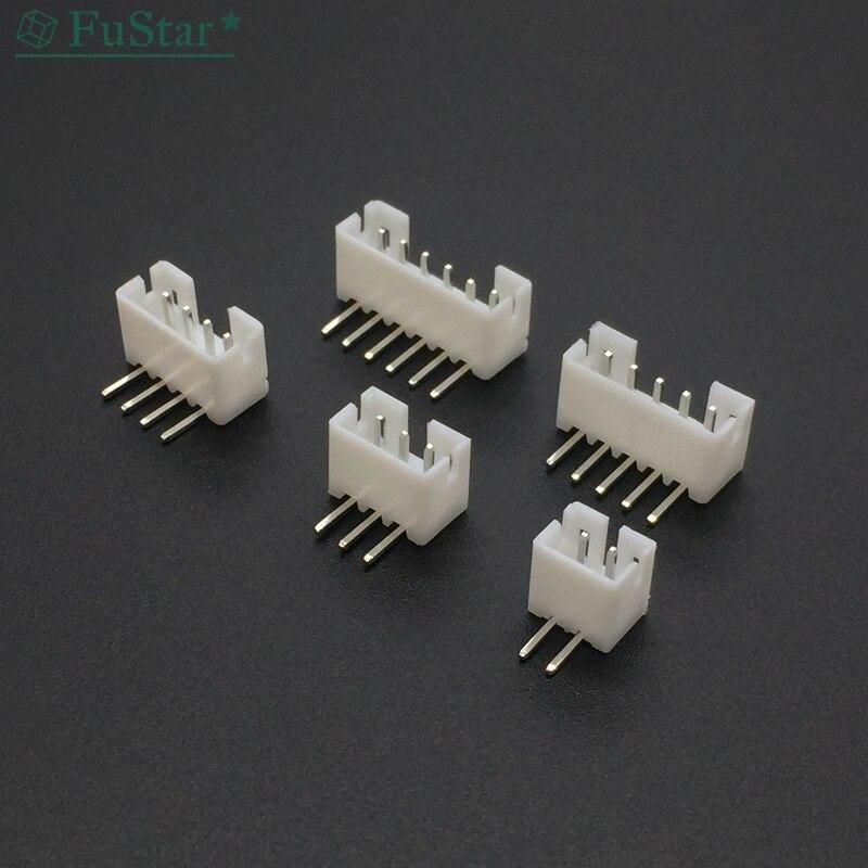 100 Uds PH 2,0mm 2 3 4 5 6 7 8 9 10 11 12 Pin ángulo recto JST hembra conector macho blanco 90 grado pie Porta agujas PH 2,0 MM