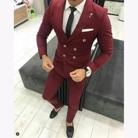 burgundy mens double breasted wedding suits men slim fit tailor made suits male business formal 2 pieces prom tuxedo suits