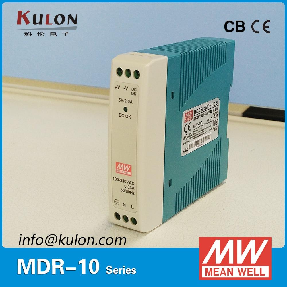 Original Meanwell MDR-10 10W 5V 12V 15V 24V Industrial de alimentación carril DIN con señal activa DC OK AC/DC Tensión de tira de LED
