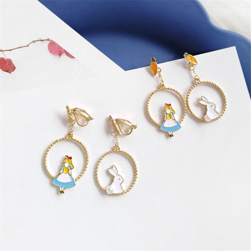 XEDZ Creative temperamento coreano conejo salvaje pendientes de dibujos animados Alice accesorios de moda de las señoras del oído Clip joyería regalo