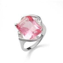 Hainon nueva moda barato caliente promesa de boda anillo Mujeres Nuevo lujo grande Vintage rosa piedra color plata anillos regalos