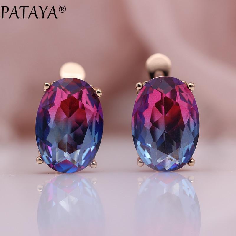 PATAYA New Oval Tourmaline Gradient Dangle Earrings Women Party Fashion Jewelry 585 Rose Gold Natural Zircon Fine Simple Earring