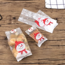 Fashion 50 Pcs Snowman Christmas Large Small Xmas Translucent  Cookie Fudge Candy Gift Cellophane Scrub Bag