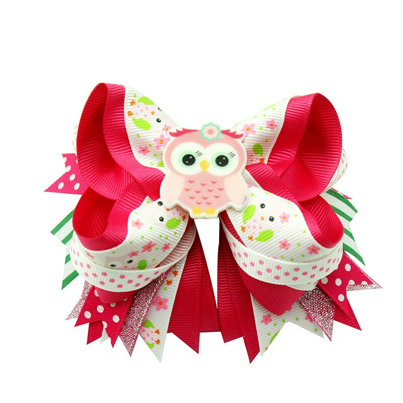 10pcs 6inch Colorful cartoon flower  hairpin  girls hair clips Ribbon hair bow Handmade Grosgrain Ribbon Hairbow for gift
