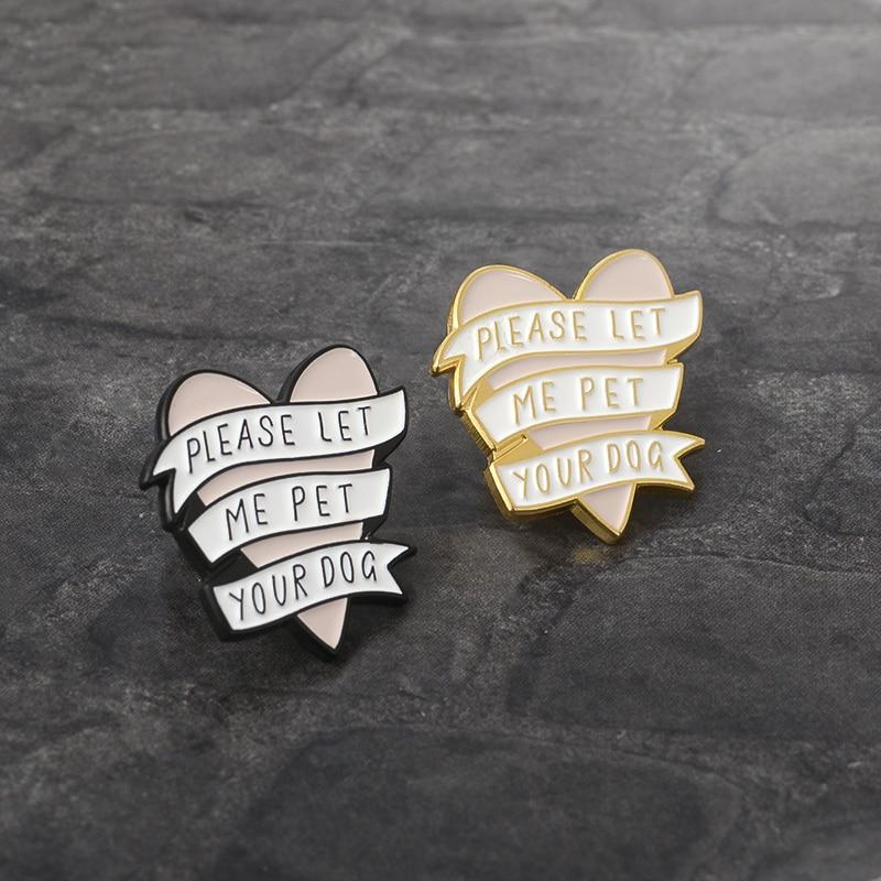 Pink Heart with White Banner Brooch Pin Gold Black Metal Enamel Pin Button Badge for Women Men Animal Pet Dog lovers Dog owner