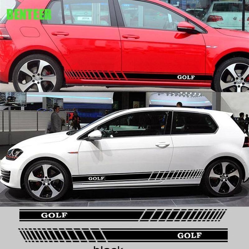 2 uds. Pegatina lateral de coche para Volksagen Golf6 Golf 7 mk6 mk7 R36 R20