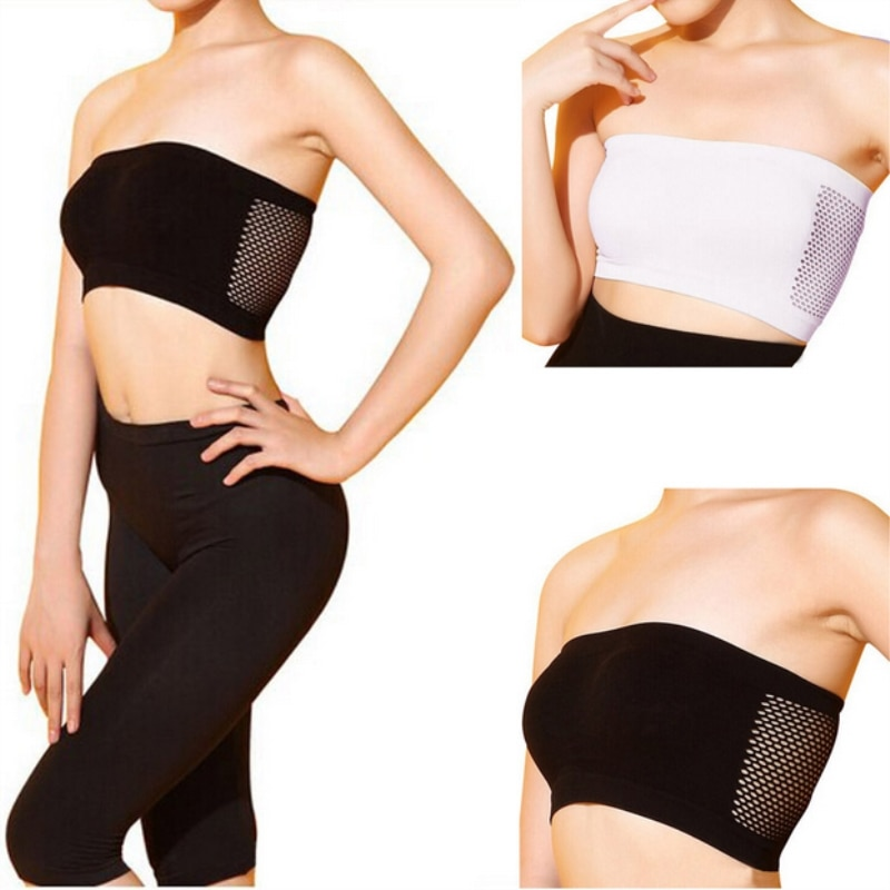 Mulheres Sexy Strapless Top Vest Respirável Sports Bras Bandeau Boob Tubo Lingerie Sexy Hot Gym Yoga Cueca