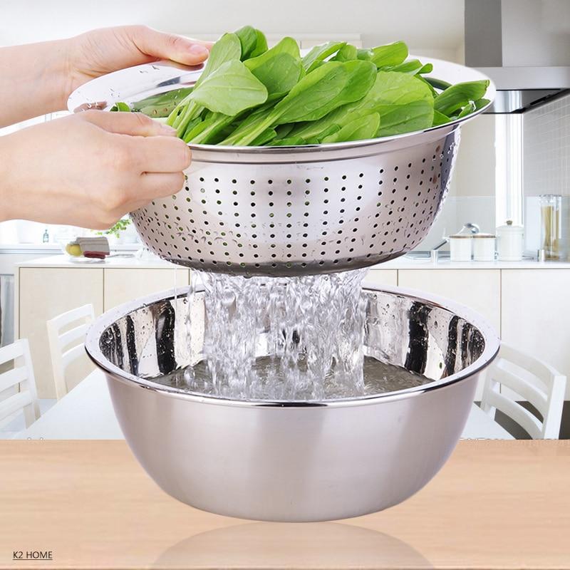 Pro Vegetable Washing Colander Stainless Steel Mesh Colander Three Sizes Over Sink Premier Fruit Wash Bowl Houseware