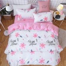 Pink Flower 4pcs Girl Boy Kid Bed Cover Set Duvet Cover Adult Child Bed Sheets And Pillowcases Comforter Bedding Set 2TJ-61018