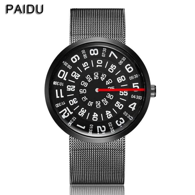 Reloj de pulsera Paidu de moda único negro de cuarzo plata con malla metálica para hombre