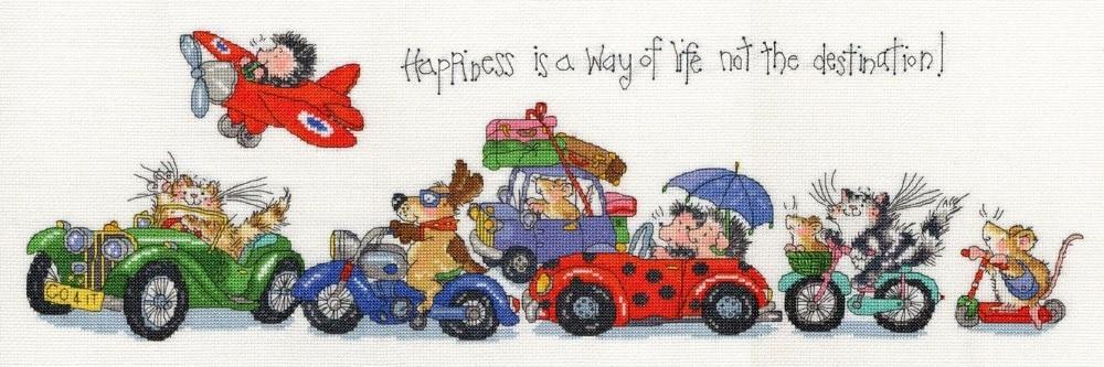 De calidad superior encantador contó Cruz puntada kit de bothy Threads animal conduciendo la felicidad es una forma de vida no el destino