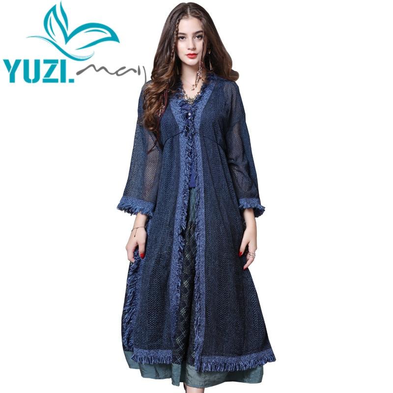 Sweater Female 2018 Yuzi.may Boho New Cardigan Women V-Neck Half Sleeve Blue Long Women Cardigans B9267 Women Sweater