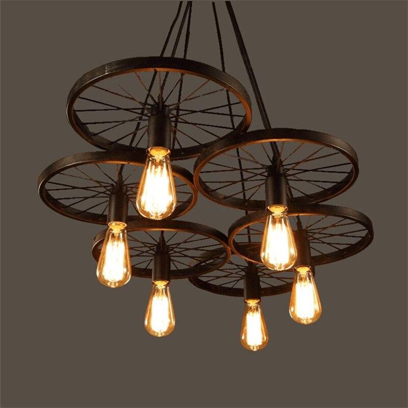 Rueda de hierro forjado colgante de luz Vintage iluminación Industrial Loft lámpara Bar estilo Country americano diseño para el PLL-726 del hogar