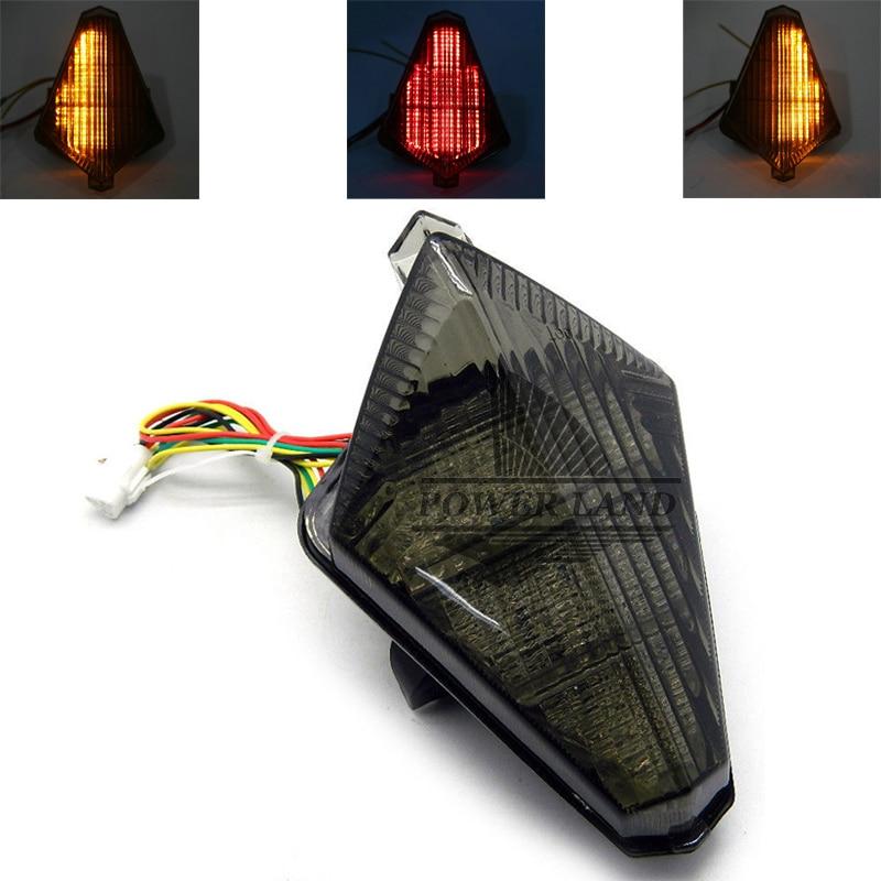 1 Uds motocicleta LED integrado trasero freno trasero apretado e indicador señal de giro Somke lente ajuste para YAMAHA YZF-R1 YZF R1 2007-2008