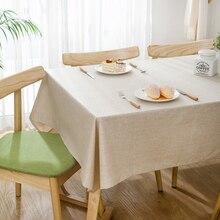 Mantel Rectangular Simple de Color liso impermeable para mesa a prueba de aceite de poliéster y tela de lino Nappe Rectangular Etanche