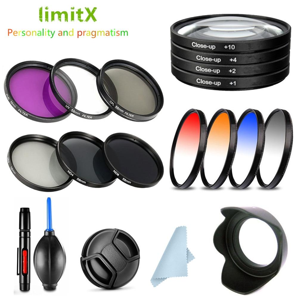 UV CPL ND FLD Graduated Close Up Star Filter & Lens Hood Cap for PANASONIC LUMIX G7 GX8 GX9 14-140mm / G9 G80 G85 12-60mm Lens