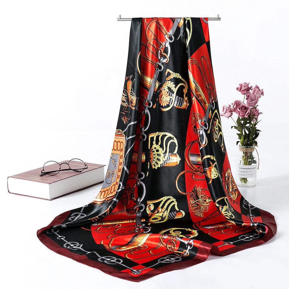 90*90cm nuevo estampado de bufanda de seda para mujer Hijab chal Foulard Square Head elegante mujer corbata de pelo banda para el cuello Bandana