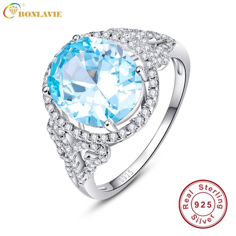 BONLAVIE 925 plata esterlina Micro empedrado de circonio cúbico decorado suizo Topacio Azul cóctel anillos joyería fina regalo para amigos
