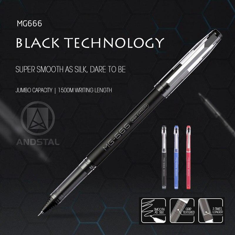 M&G 12pcs/lot Super Jumbo Capacity Gel Pen 0.5mm 1500 meters writing length refill black blue red ink gelpen school supplies