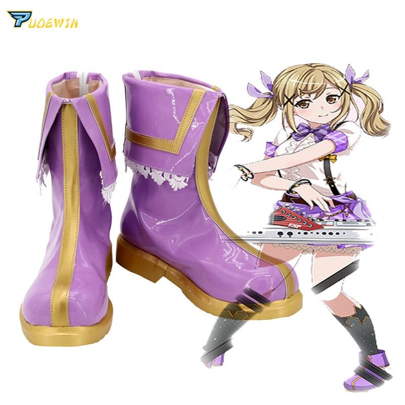 BanG Dream Ichigaya Arisa púrpura zapatos Cosplay botas hecho a medida
