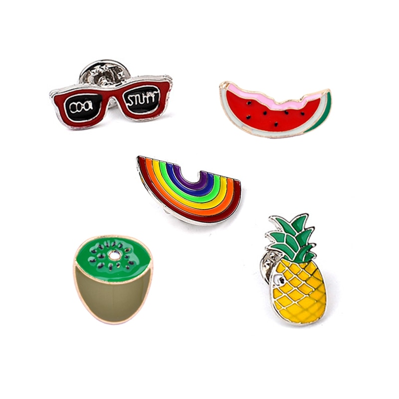 Óculos de sol arco-íris melancia kiwi abacaxi desenhos animados frutas esmalte broche pinos moda jaquetas colarinho chapéu decoração broches pino