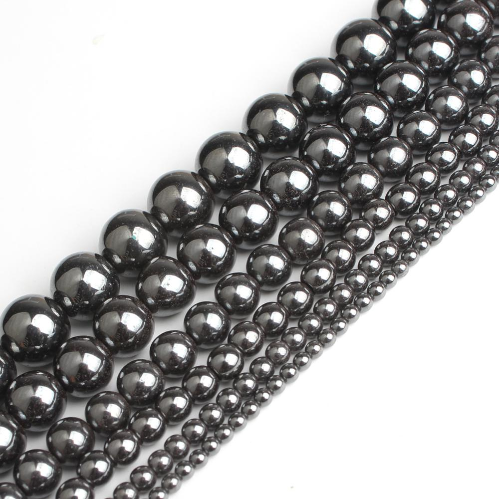 wholesale Natural Stone Black Hematite Round Beads 2 3 4 6 8 10 12MM 16 Per Strand Pick Size For Jewelry Making