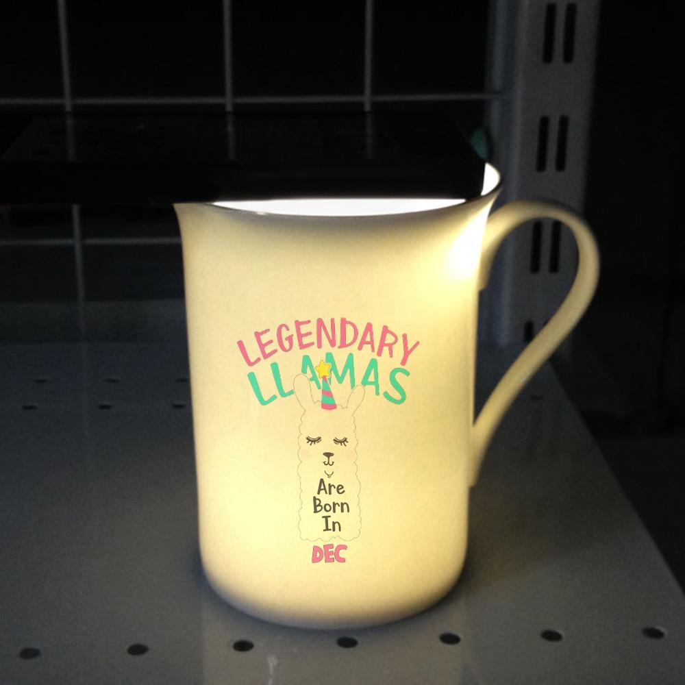 Taza de café de cerámica MAYREY de 10 oz/300 ml Legendary Llamas de diseño fresco de porcelana con impresión única de Llamas