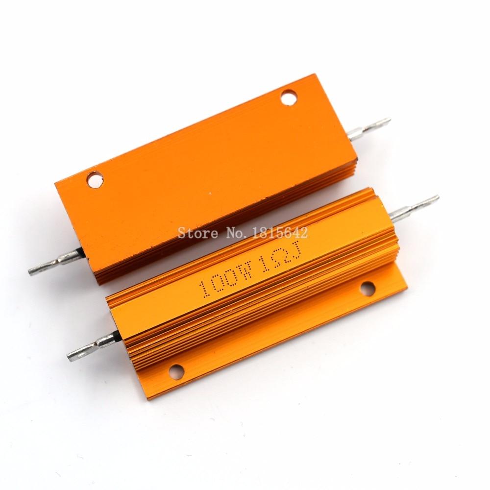 RX24 100 Вт 1R 1RJ 100 Вт металлический корпус алюминиевый Золотой резистор Высокая мощность теплоотвод сопротивление Золотой теплоотвод резистор 1 Ом