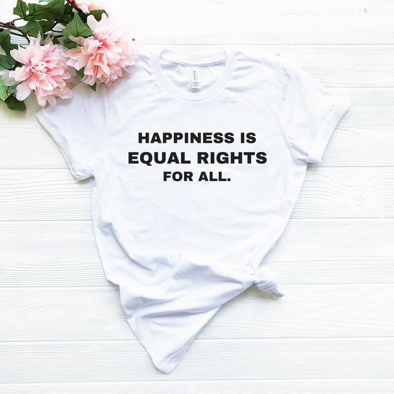 Новое поступление, футболка Skuggnas с надписью «счастье-это равные права» для всех футболок, футболка «равные права», рубашка «Права человека»...