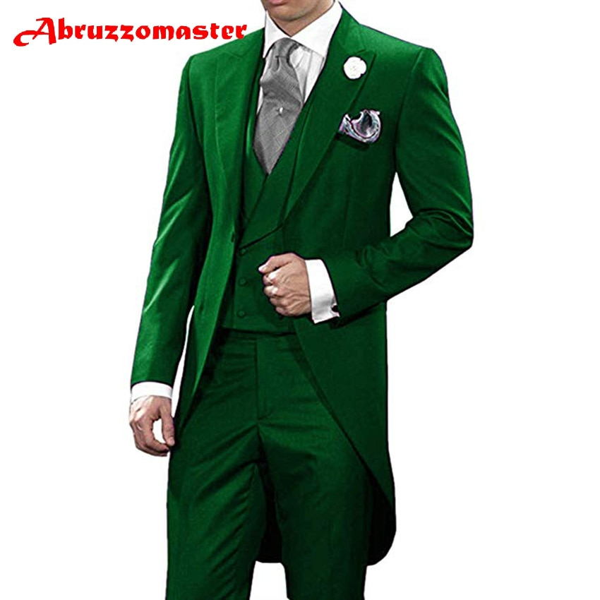 Abruzzomaster الأخضر صباح الدعاوى مخصص رجل دعوى سترة + مزدوجة الصدر سترة + السراويل ل العريس البدلات الرسمية وصيف دعوى