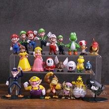 Super Mario Bros Mario Luigi Wario Waluigi Bowser Yoshi Toad Goomba Peach Margarida Koopa PVC Mini Figuras Brinquedos 22 pçs/set 3 ~ 8cm