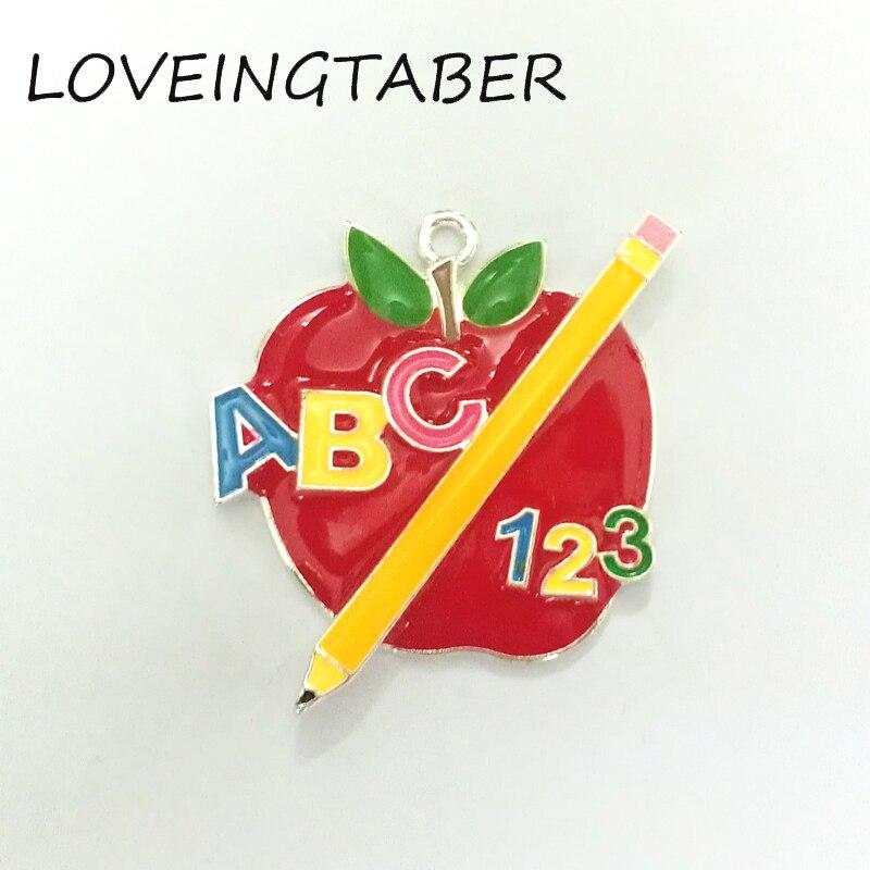 Mais novo 47mm * 37mm 10 pçs/lote completo esmalte maçã com lápis pingente para moda crianças de volta à escola